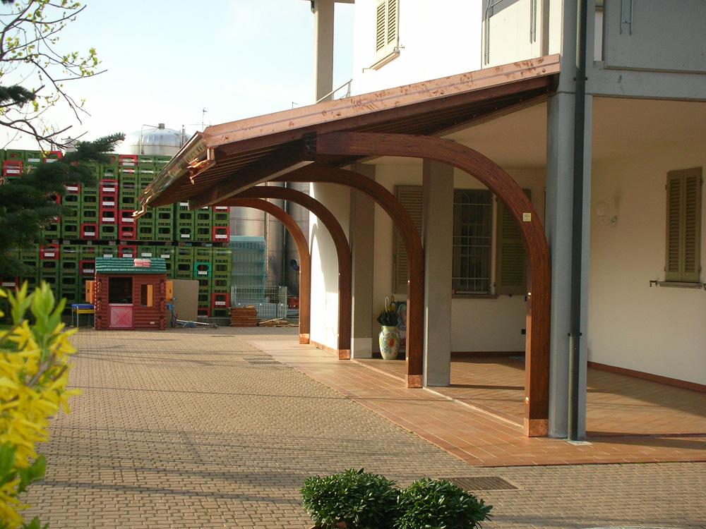portico a sbalzo tettoia in legno